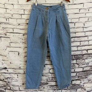 Nasty Gal Pleaded Front High-Waisted Mom Jeans